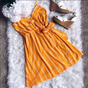 Peach Love California Orange & White Striped Dress